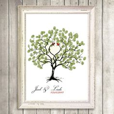 thumbprint tree heart formed by branches with love birds. Wedding Tree Guest Book, Guest Book Tree, Tree Wedding, Wedding Flowers, Wedding Crafts, Wedding Favors, Wedding Stuff, Party Party, Party Ideas