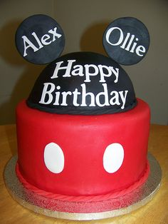 Mickey Mouse Cake (by Red Headed Baker)  #MickeyMouseCake #DisneyCakes