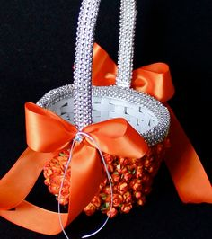 Orange Flower Girl Basket With Sparkle by CeremonyDeluxe on Etsy,