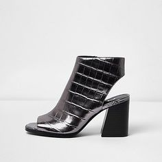 Silver crocodile effect peep toe shoe boots 50,00 €