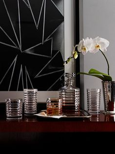Hand-cut, modern crystal barware from Ralph Lauren Home, the Metropolis Collection