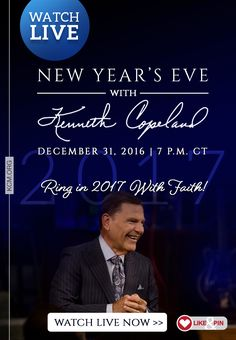 We invite you to join Kenneth Copeland on New Year's Eve to ring in 2017 with faith! Gather your friends and family to watch the service live at kcm.org, Dish Channel 265 or on the KCM or BVOVN Roku, Apple TV or AmazonFire Channels. Or if you're close to the Dallas-Fort Worth area, come on out and join us in person. Either way, you'll be encouraged to start 2017 out right – with faith! Get details here: http://kennethcopelandministries.org/ring-2017-kenneth-copeland/