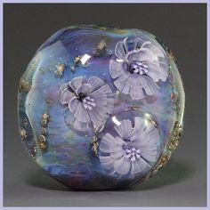Ikuyoglassart Handmade Lampwork Silver glass Flower Murrini Focal Bead sra