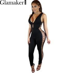 cacd528a35 Glamaker Deep v neck sleeveless side lace up jumpsuit romper Summer bandage  elegant jumpsuit women Long pants slim sexy playsuit-in Jumpsuits from  Women s ...