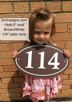 "Oval House Number Sign Address Plaque 14x8.5"" 1/4""King ColorCore Brown/White"