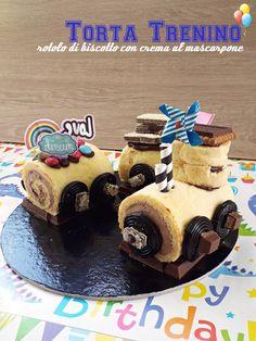 Torta di compleanno a forma di trenino Confetti, Pudding, Sweet, Desserts, Baby, Food, Cream, Mascarpone, Candy