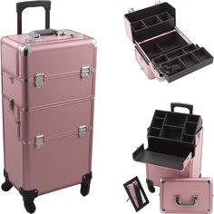 Pink Pro 4-Wheel Makeup Case at TheCosmeticSpace.com