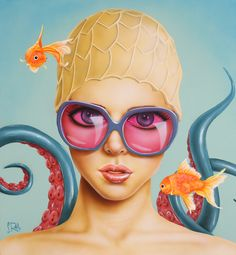 With the Fishes by Scott Rohlfs: acrylic on wood panel.