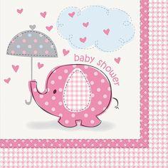 Umbrellaphants Pink Lunch Napkins 16ct | Wally's Party Factory #Umbrellaphant #pink #babyshower #napkin