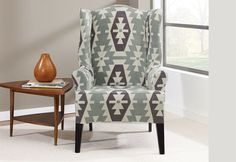 Sure Fit Stretch Kilim Wing Chair Slipcover, Gray Furniture Slipcovers, Slipcovers For Chairs, Wingback Chairs, Sure Fit Slipcovers, Ottoman Slipcover, Wing Chair, Southwestern Style, 1 Piece, Cushions