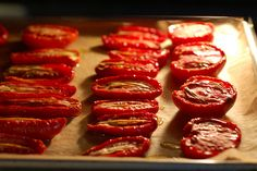 slow roasted tomatoes - for all these dismal winter tomatoes.