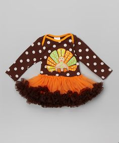 Another great find on #zulily! Chocolate Dot Turkey Skirted Bodysuit - Infant #zulilyfinds