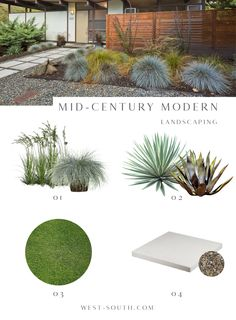 Mid-Century Modern Style Curb Appeal Ideas from West-South, Mid-Century Landscaping Ideas Modern Front Yard, Front Yard Design, Modern Landscape Design, House Landscape, Contemporary Landscape, Contemporary Bathrooms, Modern Design, Mid Century Modern Landscaping, Mid Century Exterior