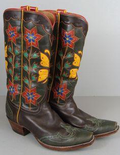 OOOH! Giddyup!!!!Custom ROCKETBUSTER Handmade Butterfly Flower Inlay Cowboy Boots Sz 6.5M