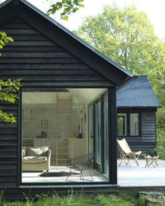 Exterior inspiration Copenhagen black cabin in the forest via david john- modern, minimalism, design