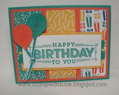 Stampin' Up!- a fun birthday card with balloons, using the 'Super Duper' set & the Party Animal DSP.