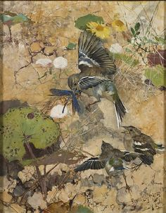 Chaffinches and dragonflies by Bruno Liljefors, 1885. Nationalmuseum Sweden, CC BY-SA