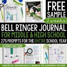 FREE 2 week sample PDF of the Science bell ringer journal for the entire school year including 275 journal prompts for middle and high school students.This product provides teachers with an entire school year of science-themed journal prompts in an organized and focused way.