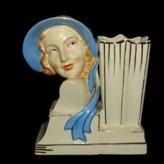 Rare Vintage Deco Girl Head Vase w Blue Hat Lady Planter