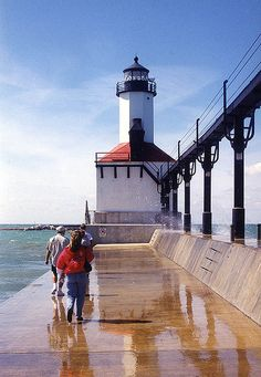 Indiana's only lighthouse on Lake Michigan, at Indiana Dunes State Park, Michigan City, Indiana. This was one of the last photographs I took using film. Indiana Dunes, Indiana State, Michigan City Indiana, Lago Michigan, Costa, Great Lakes, Terra, Vacation Spots, State Parks