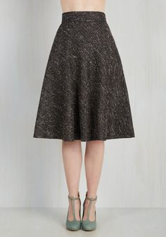 In the Chic of the Moment Skirt. Deciding on this boucle midi skirt is a simple choice that promises stellar results! #grey #modcloth