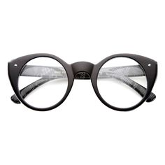 Cute Retro Animal Print Round Cat Eye Clear Lens Glasses 9647