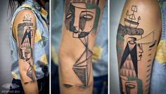 Artists Blend Surreal Portraits and Cubism to Create Uniquely Illustrated Tattoos - My Modern Met
