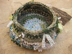 Fabric scraps woodland rustic basket