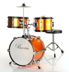 Barcelona Three-Piece 12-Inch DRM312 Kid's Drum Set with Cymbal, Seat and Sticks - Gold by Barcelona. $109.95. Fun and cute at the same time, Barcelona's three-piece kid's drum set is the perfect size for children between the ages of three and five years old. The drum set comes packaged with everything your child needs to get rockin' right away -- a drum throne, bass drum pedal, crash cymbal, and pair of sticks. Manufactured with an emphasis on durability, it's made to...
