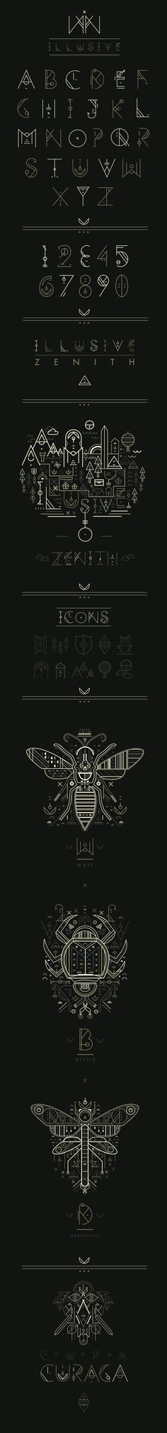 Petros Afshar - brilliant illustration for 'Illusive' and the 'Zenith' album release, focusing on elements of nature, divinity and euphoria. Below showcases a variation of the 'Illusive' font with illustrations that contain exact elements used to create the typeface.