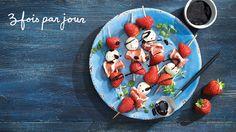 Brochettes de fraises sucrées salées de Trois fois par jour