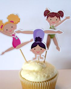 Gymnastics Party - Set of 12 Assorted Gymnast Cupcake Toppers by The Birthday House @ Lisa Jensen 6th Birthday Parties, Third Birthday, Birthday Ideas, Birthday Fun, Gymnastics Birthday, Childrens Party, Cupcake Toppers, Cupcake Picks, Party Gifts