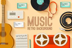 retro musical equipment background by Sir.Enity on Creative Market