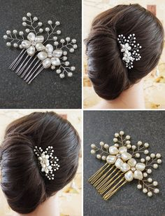 Handmade gold bridal Hair pieces from EarringsNation Bridal Hair comb Bridal headpieces gold bridal hair accessories