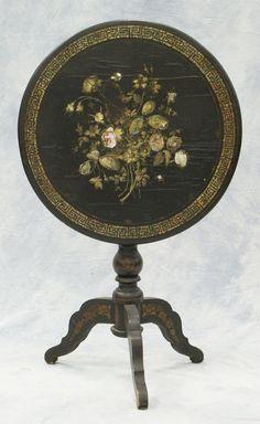 Inlaid papier mache Victorian tilt top table