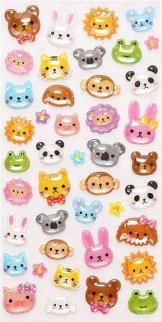 hard stickers with kawaii animals Kawaii Stickers, Cute Stickers, Bubble Stickers, Desu Desu, Cute Stationary, Kawaii Stationery, Japanese Stationery, Ideias Diy, 3d Cartoon
