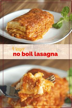 Four Layer Meat Lasagna made with No Boil noodles. The original Barilla No Boil Lasagna recipe that used to be on the back of the box. Barilla Recipes, Best Pasta Recipes, Cooking Recipes, Deep Dish Lasagna Recipe, Dinner Recipes, Free Recipes, Dinner Ideas, Meal Ideas, Recipes