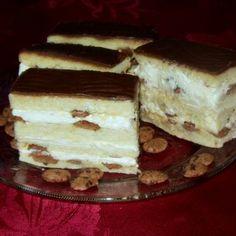 Tejszínkrémes szelet csokis pettyekkel My Recipes, Tiramisu, Sweets, Breakfast, Ethnic Recipes, Cukor, Food, Navidad, Sweet Pastries