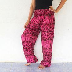 maroon elephants rayon harem pants  size by meatballtheory on Etsy
