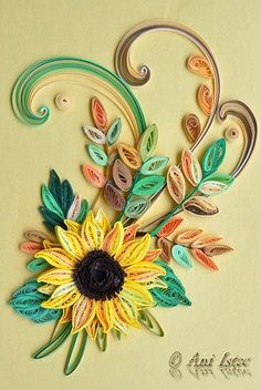 Printre hobby-uri: quilling, kusudama, origami, bijuterii handmade...: Quilling - Sunflower (Floarea soarelui) (2)