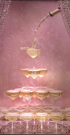 pink,gold, champagne tower