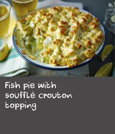 A classic pie of fish in white sauce, topped with a simple bread and soufflé style topping.Equipment: You will need a pint shallow, wide-based, ovenproof dish. Baked Trout, Trout Recipes, Fish Pie, Cream Cheese Eggs, Thing 1, White Sauce, Cooking For Two, Easy Bread, White Bread