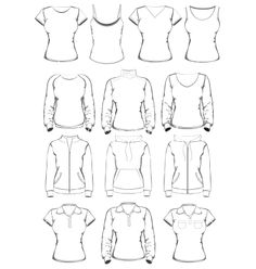 Collection of women clothes outline templates vector 1224151 - by ivelly on VectorStock®