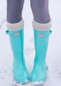 Blue hunter boots. I will get a pair next winter..