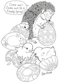 """Hedgie's Easter Eggs"" Spring coloring page courtesy of Jan Brett - a children's book illustrator! Her page has a whole collection of coloring pages."