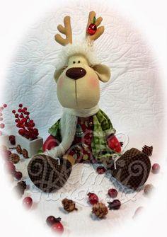 Reno Rorro by Mimi Haraposita. Handmade Christmas Decorations, Christmas Ornaments To Make, Felt Christmas, Xmas Decorations, Christmas Humor, Felt Crafts, Holiday Crafts, Merry Christmas, Reindeer Craft