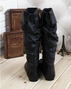 women genuine leather shoes boots brand shoes thigh high boots for plus size women fold long boot 4142