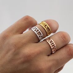WEDDING date ring - Important days ring - Personalized date ring - Custom ring - Roman numeral date ring - Gold filled over silver by GULIAN on Etsy https://www.etsy.com/listing/240739920/wedding-date-ring-important-days-ring