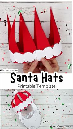 Try this fun Christmas craft! Make and wear a cute 3D Paper Santa Hat! This Christmas hat idea is great for fun loving kids and grown-ups. A fun Santa craft for the whole family! (Printable Santa Hat Craft Template)  #kidscraftroom #kidscrafts #santa #santahat #papercrafts #christmascrafts #printablecrafts #santacrafts #christmashats Santa Crafts, Holiday Crafts For Kids, Easy Crafts For Kids, Halloween Crafts, Craft Stick Crafts, Preschool Crafts, Paper Crafts, Diy Crafts, Christmas Hat