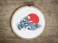▲▼▲ red sun tsunami cross stitch pattern ▲▼▲  hand designed cross stitch pattern  this pattern comes as a PDF file that you can immediately download after